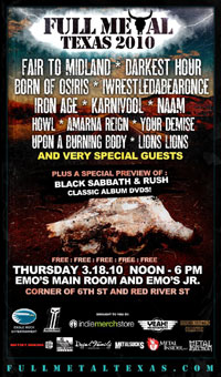 Full Metal Texas Announce 2010 Line-Up